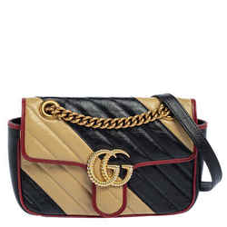Gucci Black/Beige Diagonal Quilt Leather Small GG Marmont Torchon Shoulder Bag