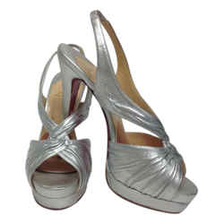 Christian Louboutin Silver Twist Leather Platform Slingback with Front Sandals Size: US 8.5 Regular (M, B) Item #: 21852886