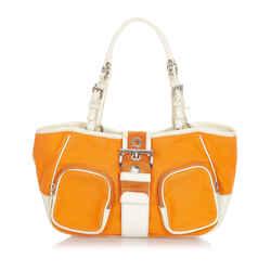 Orange Prada Canvas Shoulder Bag