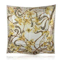 Christian Dior Vintage Beige Yellow Floral Design Silk Scarf