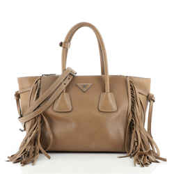 Fringed Twin Pocket Tote Glace Calf Small