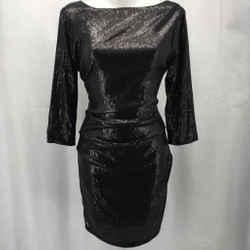 Parker Black Sequin Dress Large