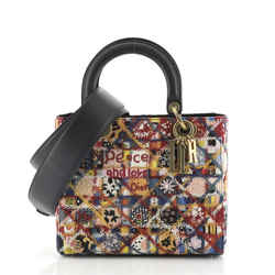 Peace and Love Lady Dior Bag Embroidered Canvas and Leather Medium
