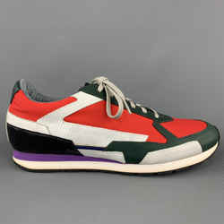 Raf Simons Size 10 Multi-color Color Block Nylon Lace Up Sneakers