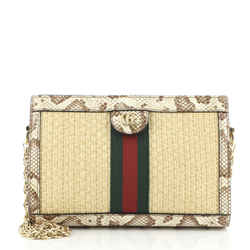 Ophidia Chain Shoulder Bag Straw with Snakeskin Small