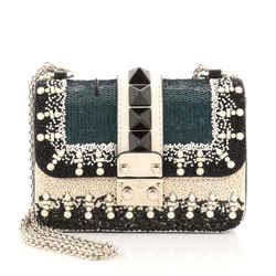 Glam Lock Shoulder Bag Embellished Leather Mini