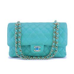 NIB 19S Chanel Iridescent Turquoise Green Caviar Medium Classic Double Flap Bag GHW
