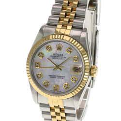 Rolex Datejust Midsize White MOP Diamond Dial 18K Gold Fluted Bezel 31mm Watch