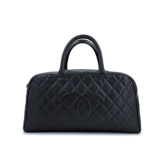 Chanel Black Caviar Quilted Large Bowler Bag