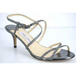 Jimmy Choo Elaine Silver Glitter Strappy Heel Sandals Size 37 Nib $595 Ankle Sz