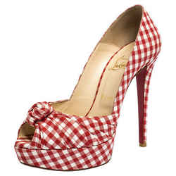 Christian Louboutin Red/White Gingham Fabric Greissimo Platform Pumps Size 38.5