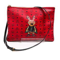 MCM Cherry Red Robot Rabbit Crossbody Bag
