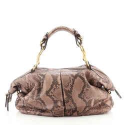 Soft Icon Horsebit Top Handle Bag Python