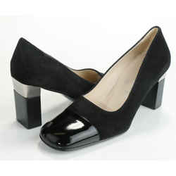 Chanel Vintage Suede Square Toe Pumps - Black