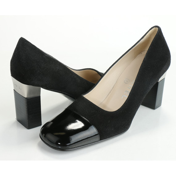 Chanel Vintage Suede Square Toe Pumps - Black
