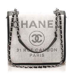 Gray Chanel Small Deauville Straw Crossbody Bag