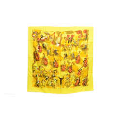 Authentic Hermes 100% Silk Scarf Concerto Yellow Clerc Vintage 90cm Carre