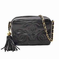 Auth Chanel Chanel Lamb Triple Coco Chain Shoulder Tassel Gold Hardware Black La