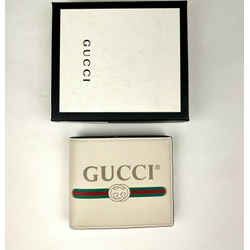 New Gucci Men's Off White Leather Bi-fold Wallet With Gg Logo 496309 8820