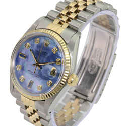 Blue Mop Mens Datejust Diamond/sapphire Dial Fluted Bezel-quick Watch