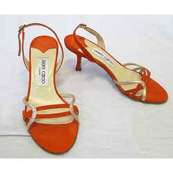 Jimmy Choo Orange Suede Slingback Sandals W/ Pink Gold Metallic Accents - 35
