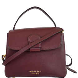 BURBERRY Camberley Small House Check Saffiano Tote Shoulder Bag Dark Red