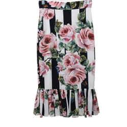 Dolce & Gabbana Black White Striped Skirt with Pink Flowers sz 0