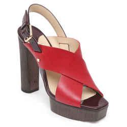 JIMMY CHOO Platform Sandal AIX 125 Red Leather Wood Heels Gold Patent Sz 38.5