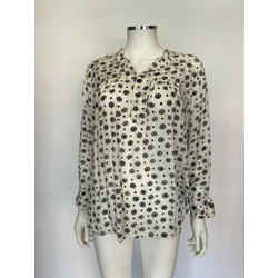 $270 toile Isabel Marant Ferone Ivory W/ Gray Floral Blouse Sz 2