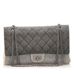 Vintage Authentic Chanel Black Reissue Quilted Denim Double Flap Bag France
