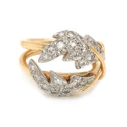 Tiffany & Co. Schlumberger 2 Leaf Diamond Ring