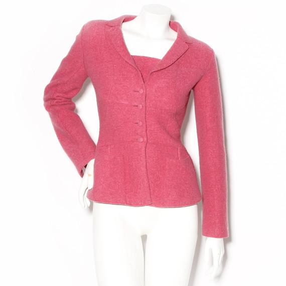 Chanel Pink Felt Fitted Wool Blazer