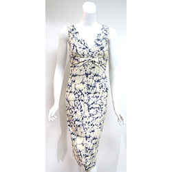 MICHAEL KORS Ivory & Blue Abstract-print Dress