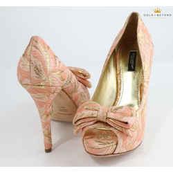 Dolce&Gabbana Pink Silk Brocade Bow Platform Pumps