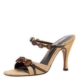 Louis Vuitton Beige Raffia Crystal Embellished Strappy Open Toe Sandals Size 39
