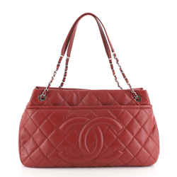 Timeless CC Soft Tote Quilted Caviar Large