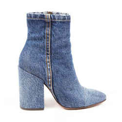 Dries Van Noten Boots Blue Denim Block Heel Ankle SZ 36.5