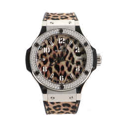 Big Bang Quartz Watch Stainless Steel with Diamond Bezel and Leopard Print Rubber 38