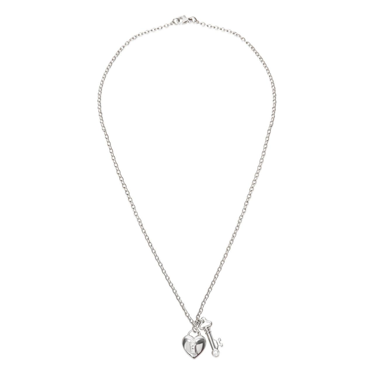 Tiffany Co Heart Lock Key Charm Diamond Necklace In Platinum Leprix