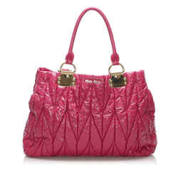 Vintage Authentic Miu Miu Pink Patent Leather Leather Matelasse Tote Bag France