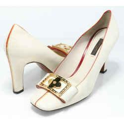 Louis Vuitton Leather Bow Square Toe D'orsay Pumps