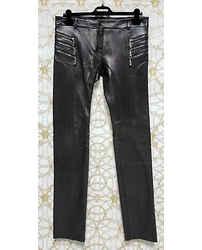 F/w 2010 Look #5 Versace Runway Slim Black Leather Pants Size 48 - 38 (m)