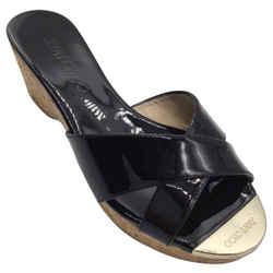Jimmy Choo Black Patent Leather Cork Sandals
