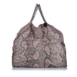 Brown Stella McCartney Falabella Python Fold-Over Tote Bag