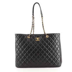 Classic CC Shopping Tote Quilted Caviar Large