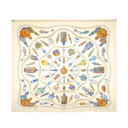Vintage Authentic Hermes White Silk Fabric Printed Scarf Italy W/ Box