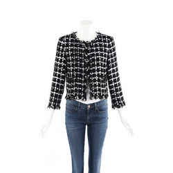 Chanel Jacket Black White Checked Cotton Tweed SZ 42