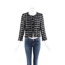 Chanel Jacket Black White Checked Cotton Tweed Sz 42