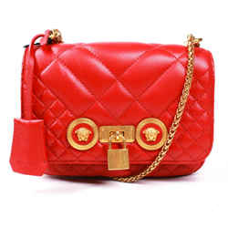 Versace - New - Medusa Small Icon Tribute Flap Bag - Red Leather Shoulder Chain