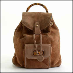 Rdc10372 Authentic Gucci Brown Suede Leather Bamboo Handle Backpack